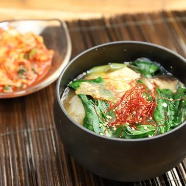 ほうれんの韓国風味噌スープ
