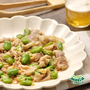 【動画】そら豆と豚肉のピリ辛ラー油炒め